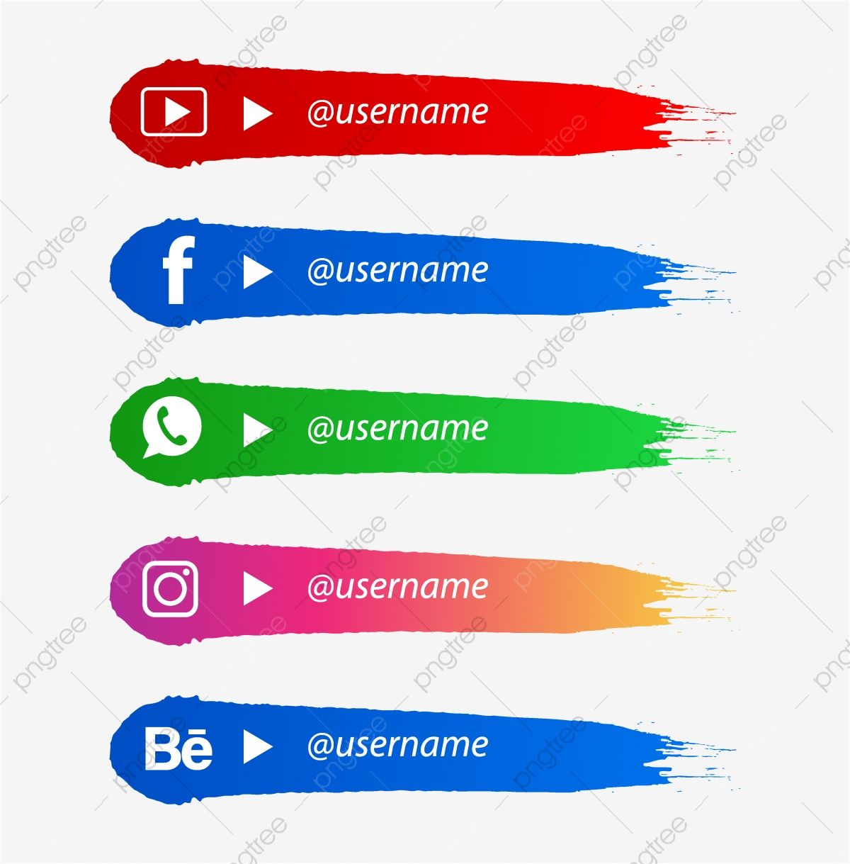 Social Media Lower Third With Brush Shape Social Media Icon Lower Third Png And Vector With Transparent Background For Free Download Social Media Lower Thirds Prints For Sale