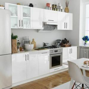 Set De 8 Meubles De Cuisine Blanc Brillant 260 Cm Meuble Cuisine Blanc Meuble Cuisine Armoire De Cuisine