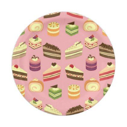 Cute Colorful Cakes Tea Party Pattern Paper Plate  sc 1 st  Pinterest & Cute Colorful Cakes Tea Party Pattern Paper Plate | Colourful cake