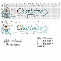 Cross stitch baby name Charlotte with Olaf the snowman from Disney Frozen cartoon