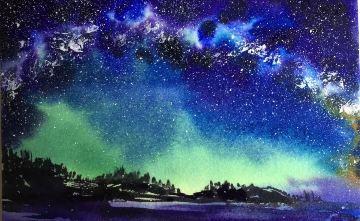 A full demonstration tutorial of watercolor milky way sky for Painting on water tutorial