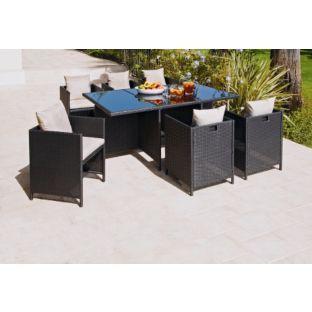 Buy Rattan Effect Cube 6 Seater Patio Furniture Set 400 x 300