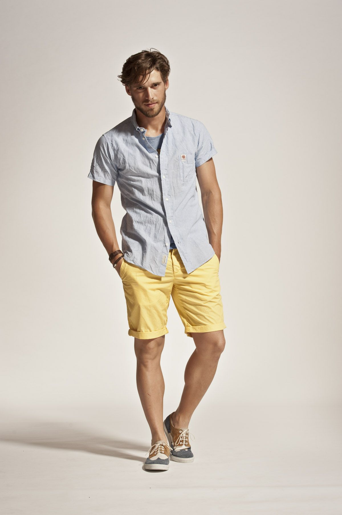 For him: bright yellow shorts & comfy shirt by Franklin & Marshall