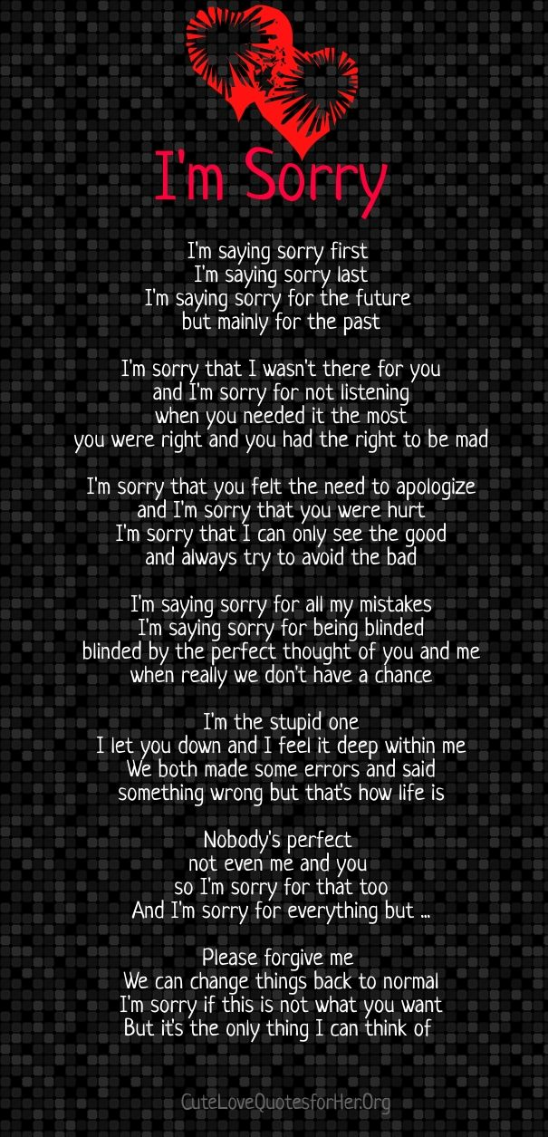 im sorry poems for her | Poems of Living Life | Pinterest ...