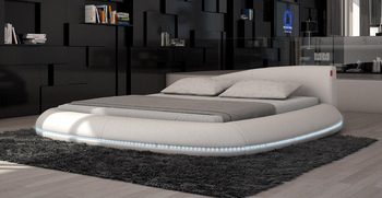 $1880 Modrest cerchio modern eco-leather bed with LED lights