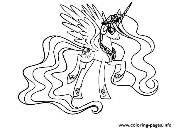 My Little Pony Princess Celestia Coloring Pages To Print