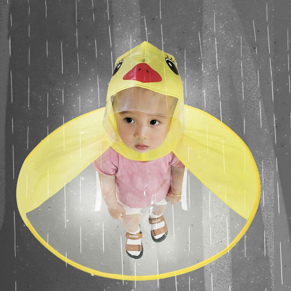 Cute Cartoon Duck Children Raincoat Umbrella Ufo Yellow Ducks Shape Rain Hat Cape Foldable Headwear Outdoor for Kids Boys Girls S