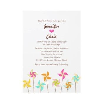 Pinwheel Picnic Wedding Invitation. Don't know about on the invite, but pinwheels around the yard would be awesome.