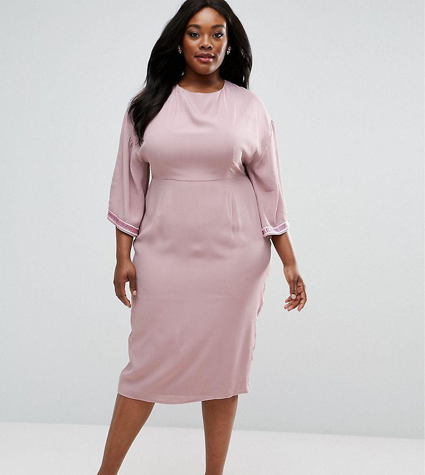 0188a53c436 ASOS CURVE Embellished Trim Kimono Midi Dress - Pink