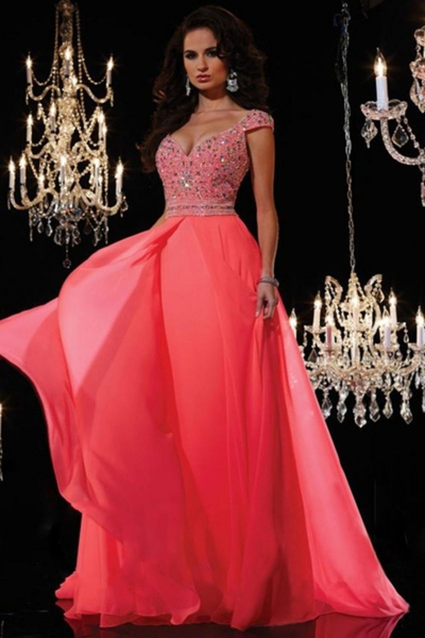 Click to buy ucuc luxury crystal a line chiffon formal long evening