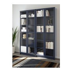 Ikea Billy Dark Blue Bookcase Bookcase With Glass Doors