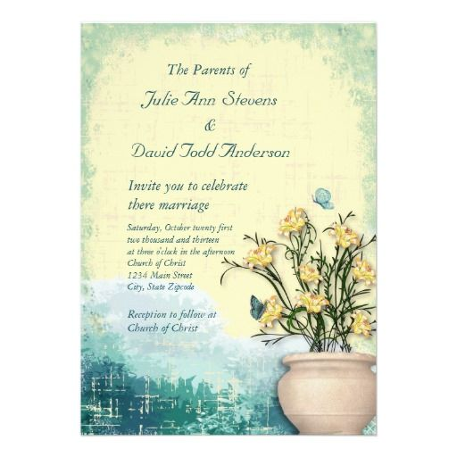Vintage Flower Pot Butterfly Wedding Invitation With Images