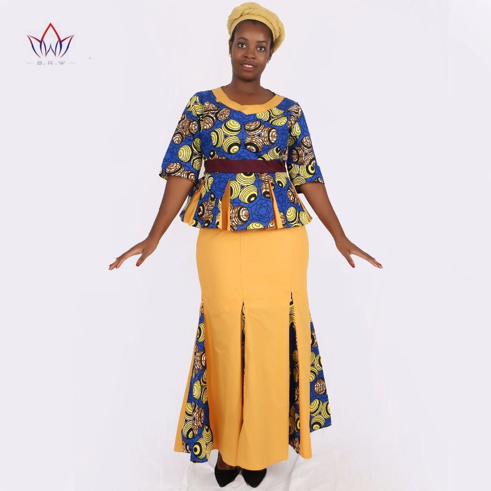 1b198dc99a Click to Buy << Traditional African Clothing 2 Piece Set Women Clothes Half  Sleeve Maxi Dress Dashiki African Print Skirt free Scarf 6XL WY1435  #Affiliate