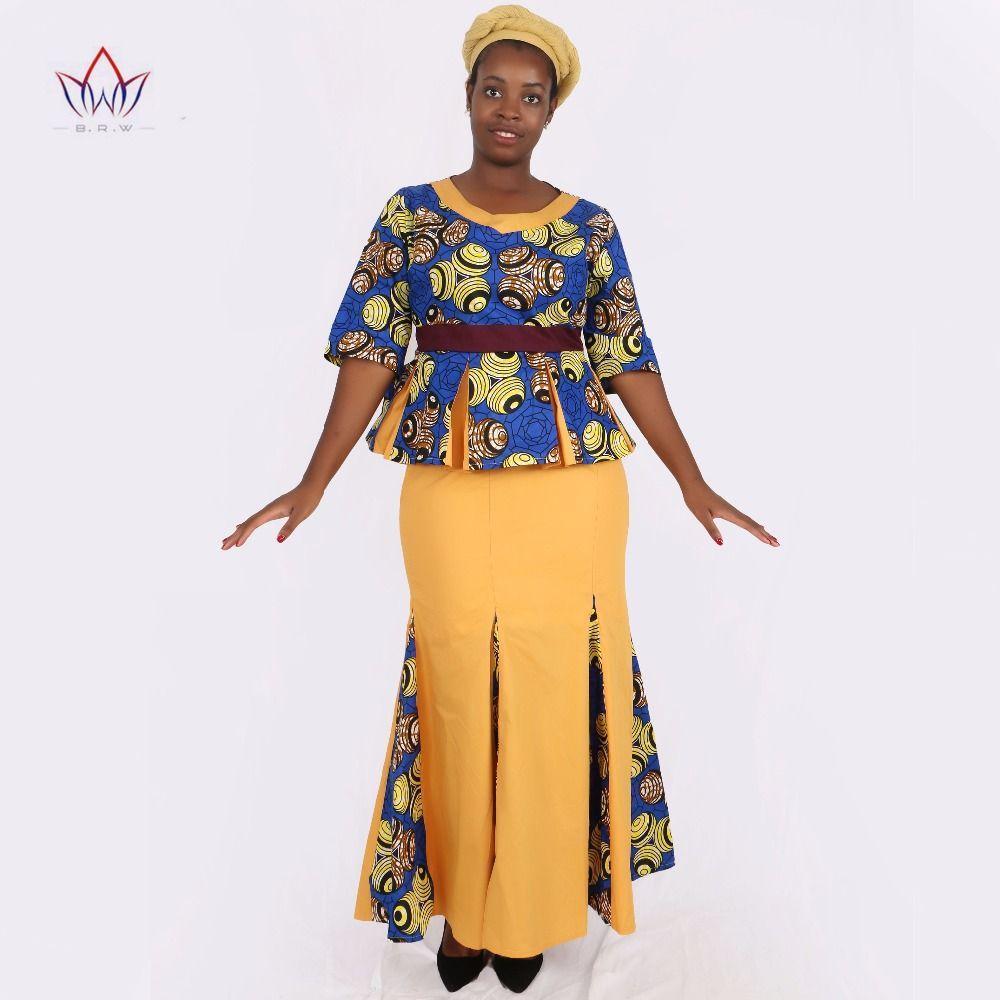7196c5dd0d8 Traditional African Clothing 2 Piece Set Women Clothes Half Sleeve Maxi Dress  Dashiki African Print Skirt free Scarf 6XL WY1435