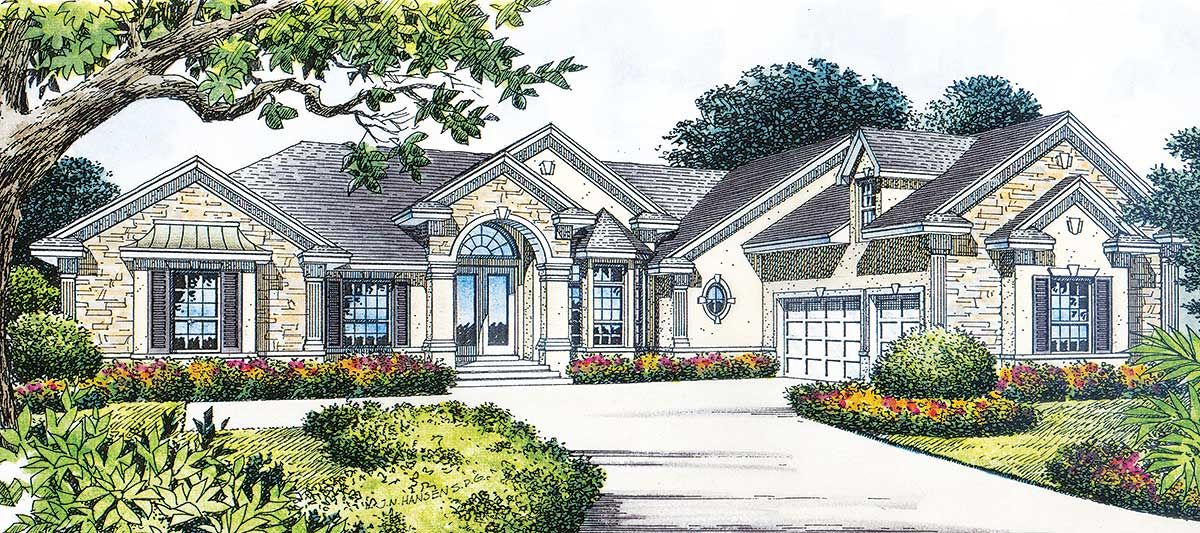Plan 6426hd Traditional Stone And Stucco Stucco Homes Architectural Design House Plans House Plans
