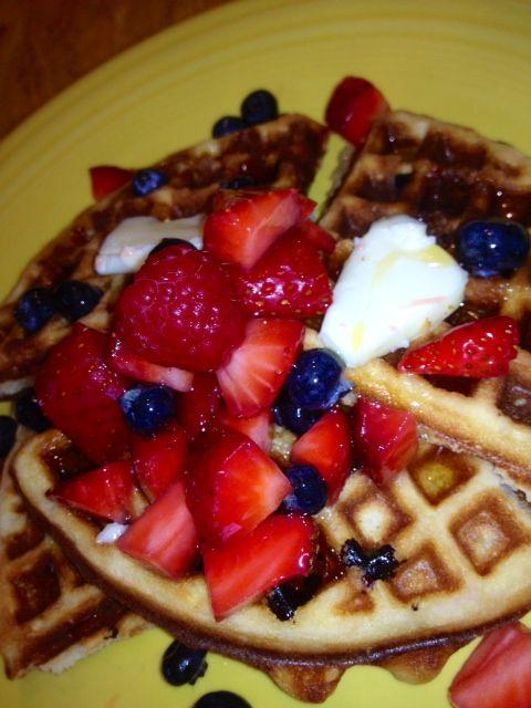 Belgium waffles with lots of fresh berries!