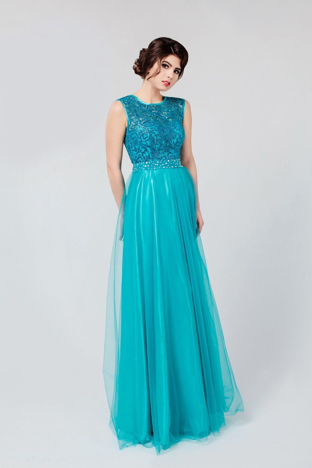Lace Long V Back Tulle Bridesmaid Dress | Lace bodice, Long ...