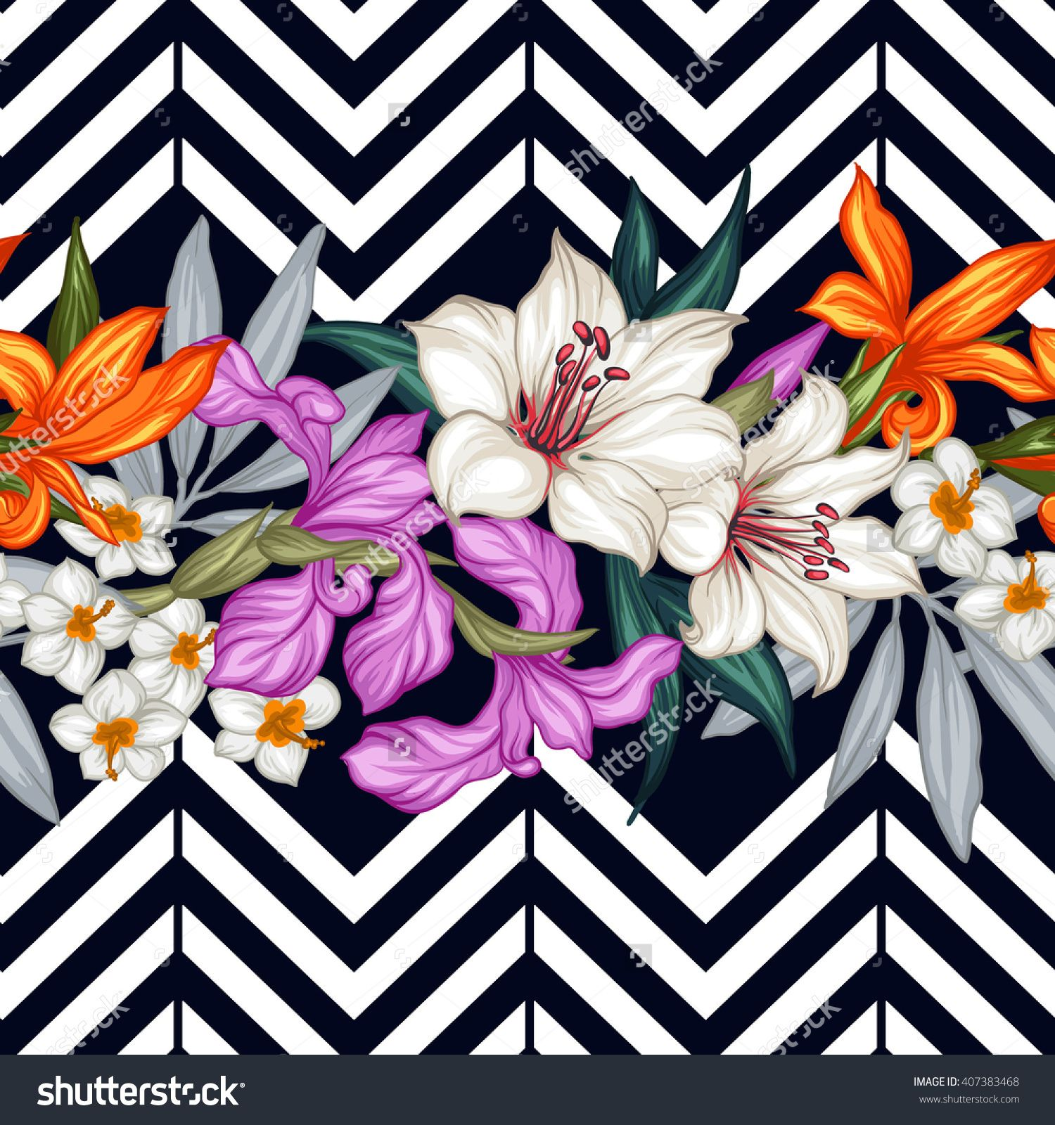 Vector Tropical Leaves And Flowers Seamless Pattern. Hand