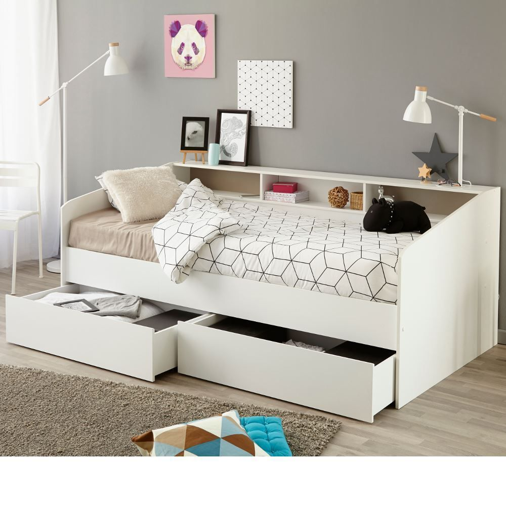 TOO LARGE Sleep White Wood Storage Day Bed EU Single with