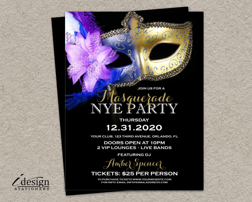 masquerade new years eve party flyer templates 2015 nye party flyers by idesignstationery on etsy