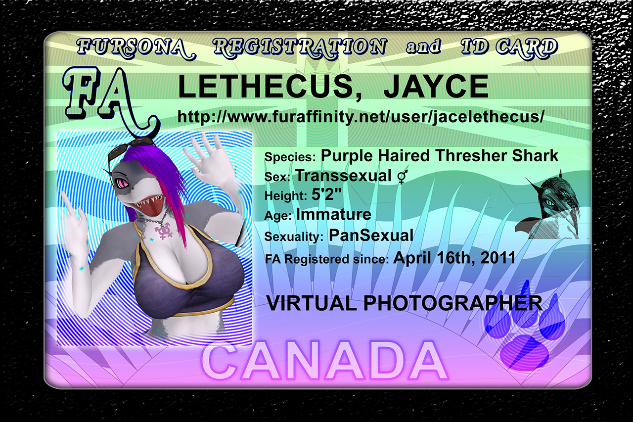 A new official looking Fursona ID card I made. Photo by Me, Myself ...