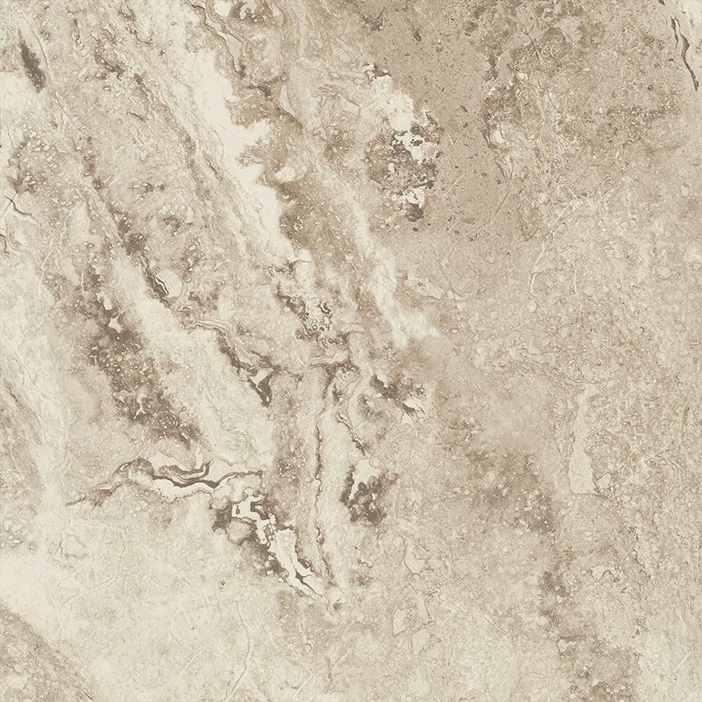 TrafficMASTER Groutable 18 in. x 18 in. Light Travertine Peel and ...