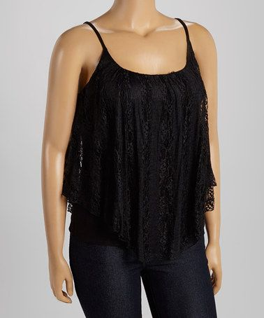 Loving this Black Lace Tank - Plus on #zulily! #zulilyfinds