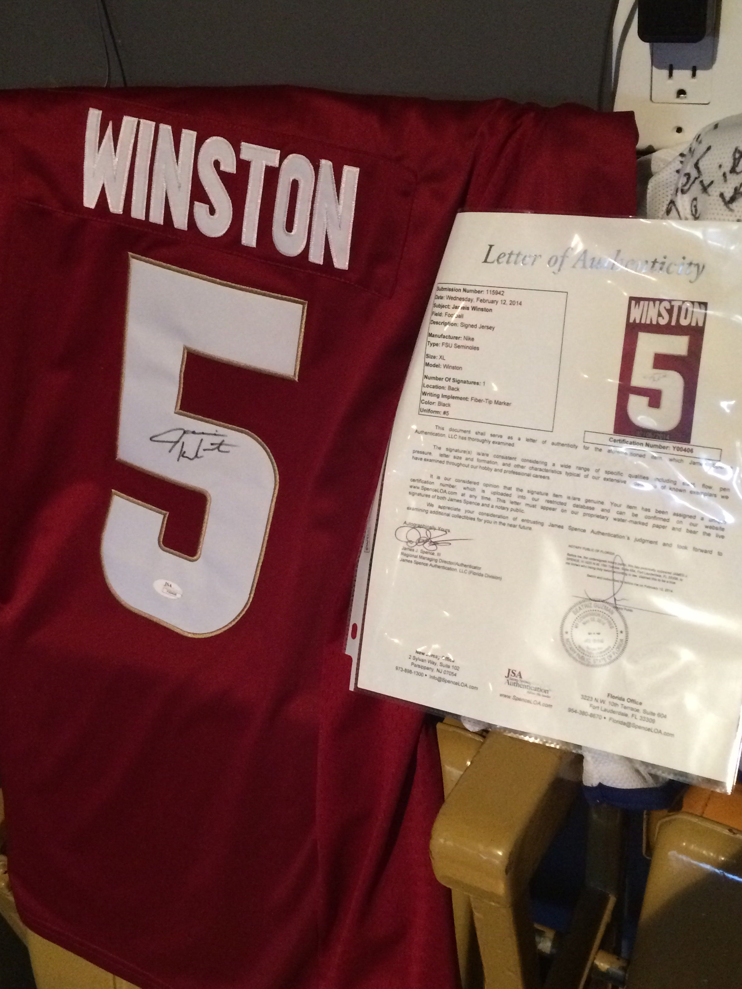 0dc9199d210bb Signed FSU Jameis Winston jersey with letter of authenticity.
