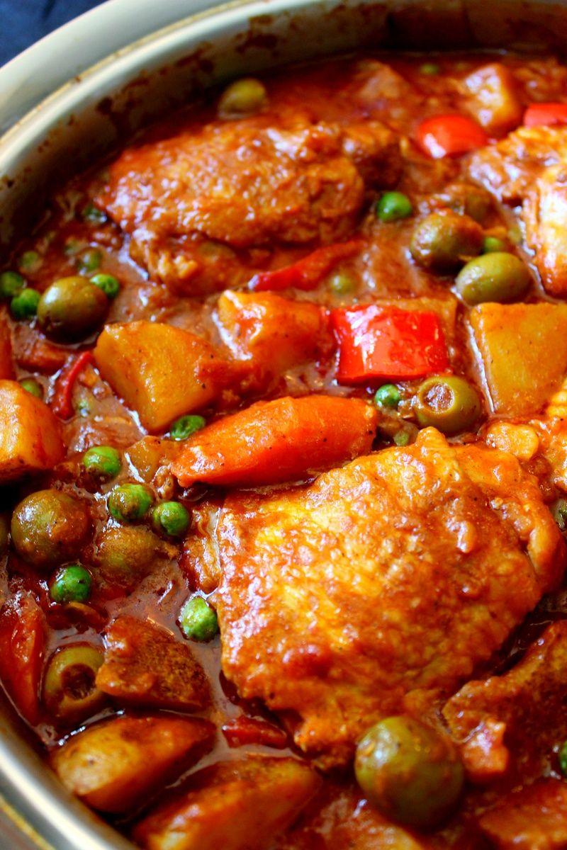 Chicken Afritada Spanish Style Chicken Stew Recipe