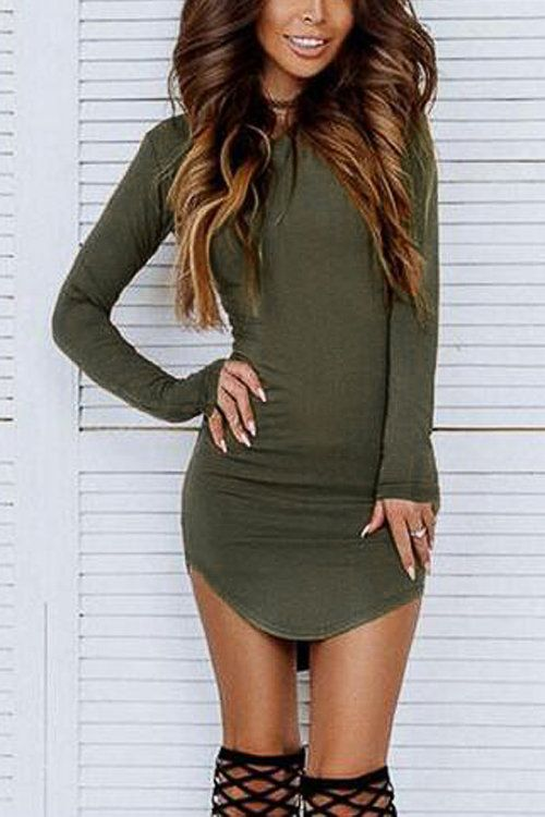 db3fe3938c Round Neck Curved Hem Bodycon Fit Dress in Army Green - US 7.95 ...