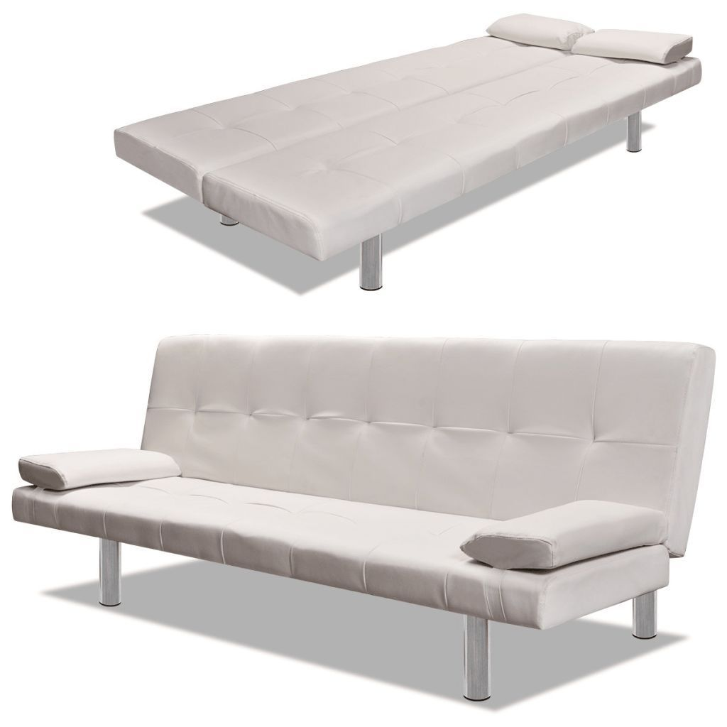 Vidaxl Sofa Bed With Two Pillows Adjustable Cream White Convertible Sofa Bed Futon Sofa Bed