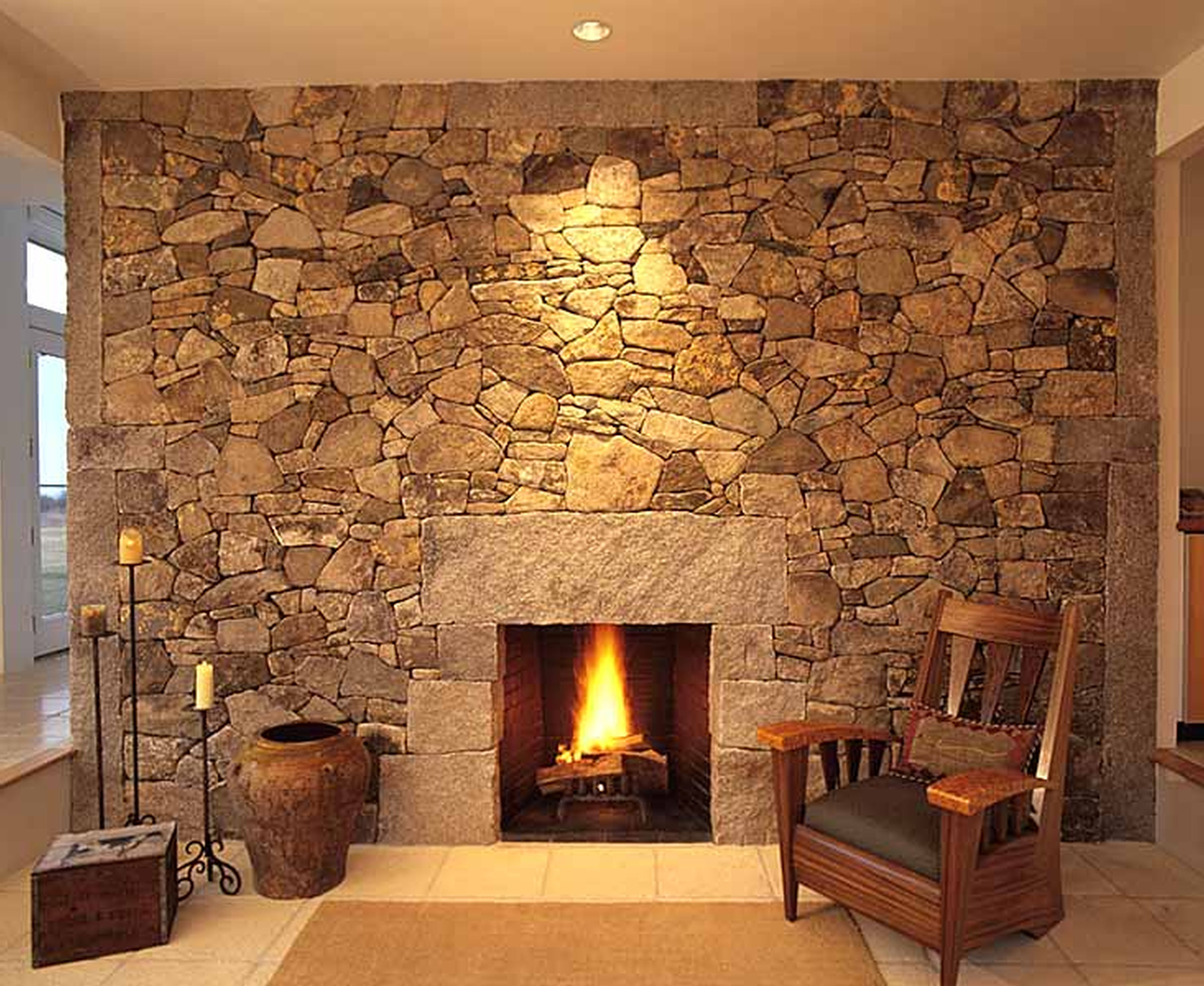 Open Stone Fireplace Stone Mosaic Surrounds This Simple Open Fire Fireplaces