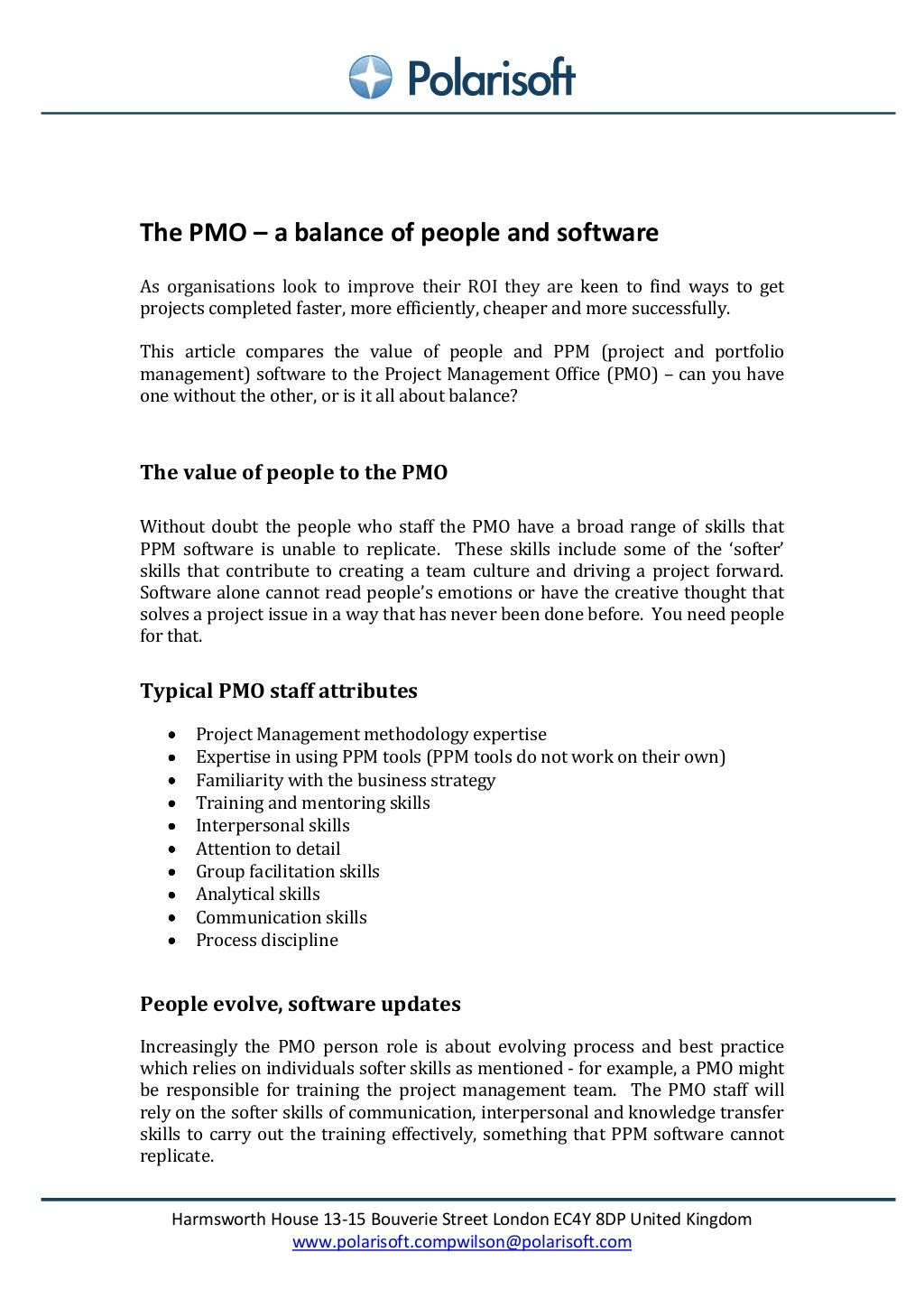 PMO balancing people and software by Polarisoft via