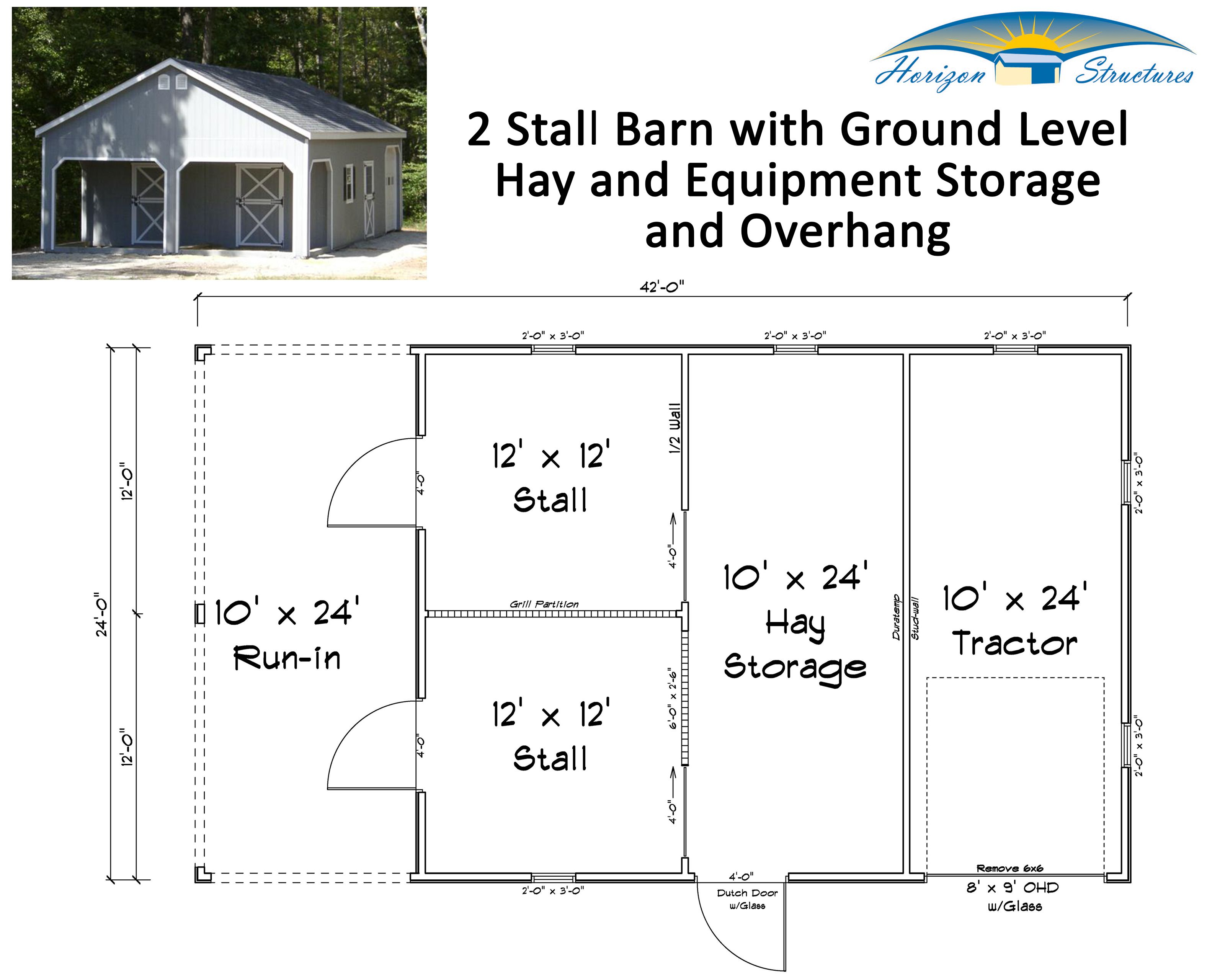 This 2 stall barn with hay and equipment storage could easily be modified to have 3 or 4 stalls brought to your farm in 2 modular sections