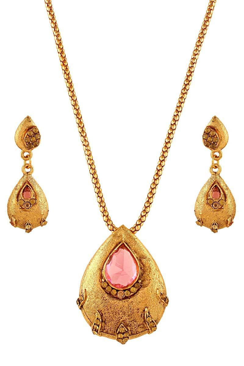Pink gold plated austrian diamond pendant set products pinterest