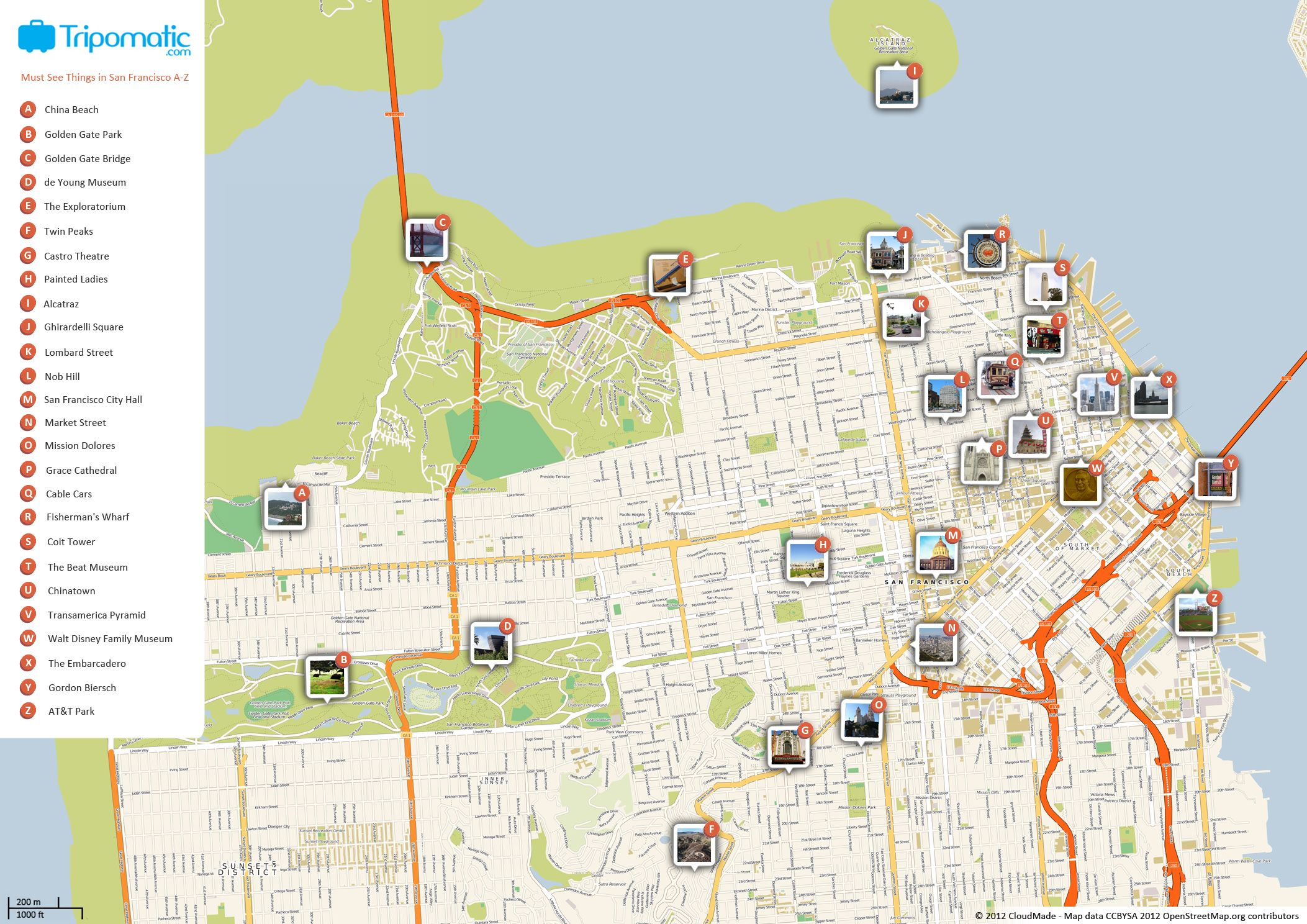 Free Printable Map Of San Francisco Attractions Free Tourist - Us map san francisco