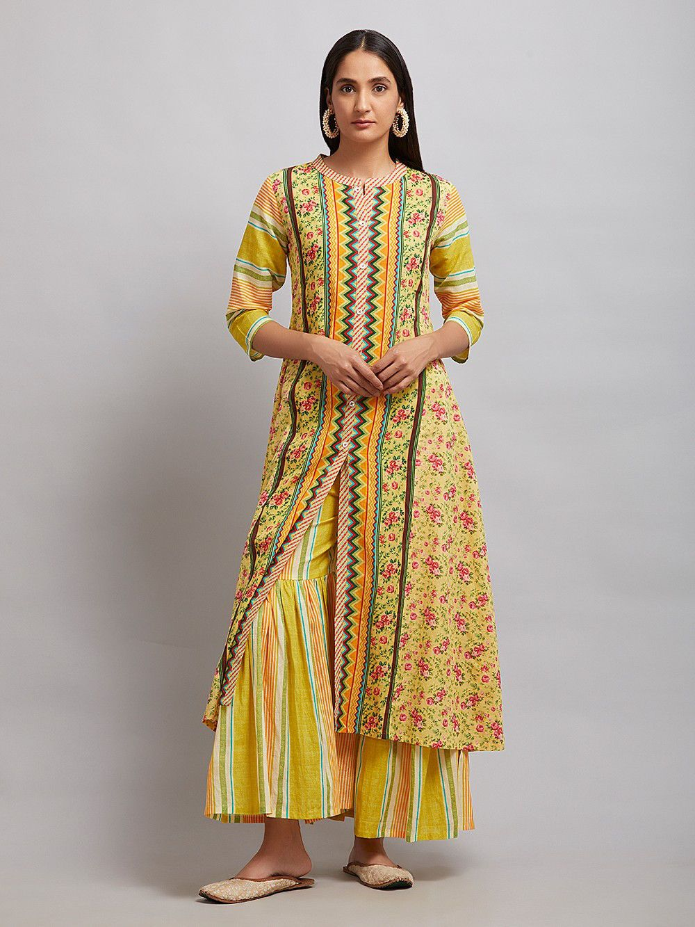 Buy yellow printed cotton kurta online at theloom simple