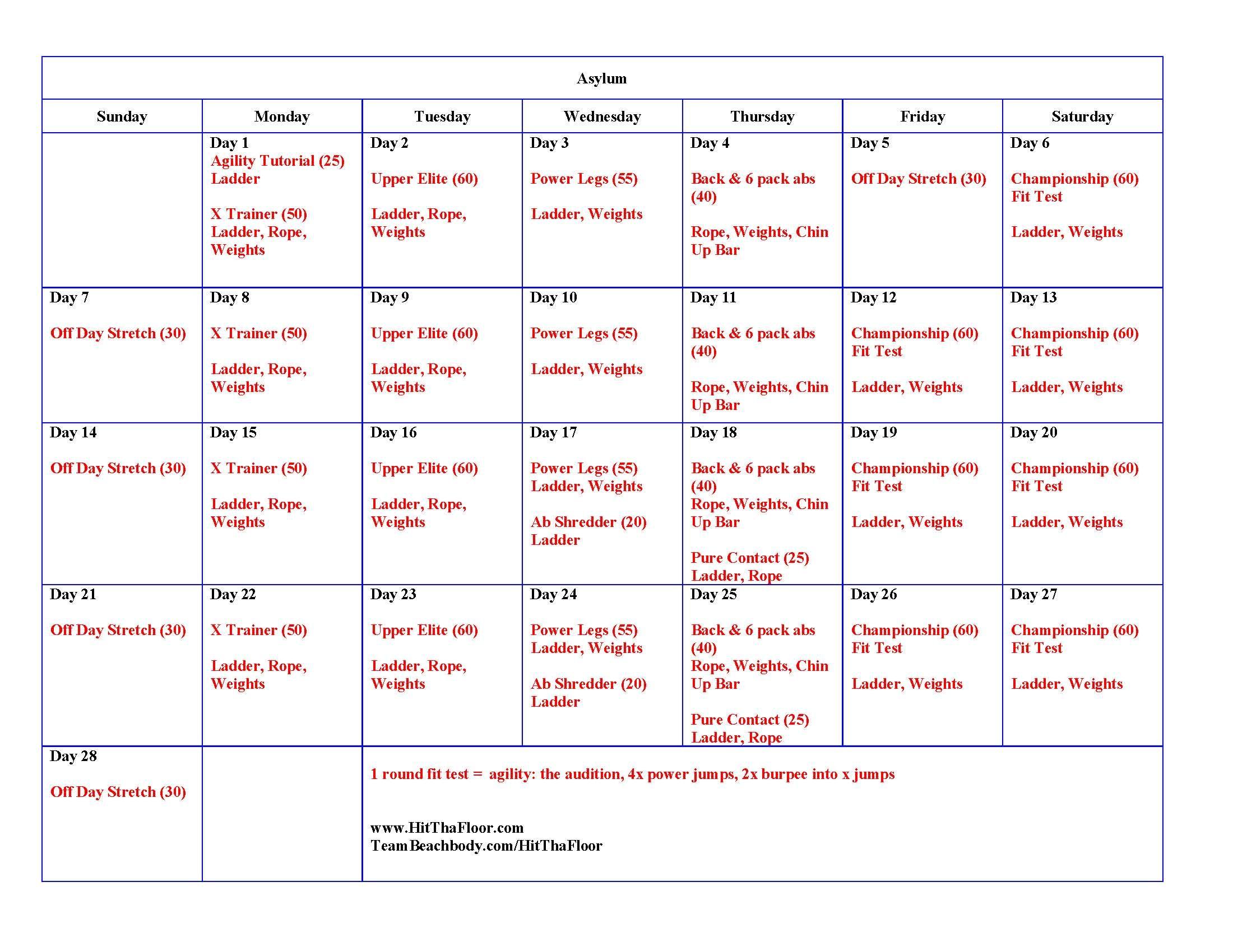 Calendario Fit.Asylum Volume 2 Calendar Workout Workout Ab Day Fitness