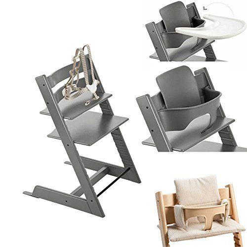 Stokke Tripp Trapp Chair w Baby Set Stokke Tray & Beige Stripe ...