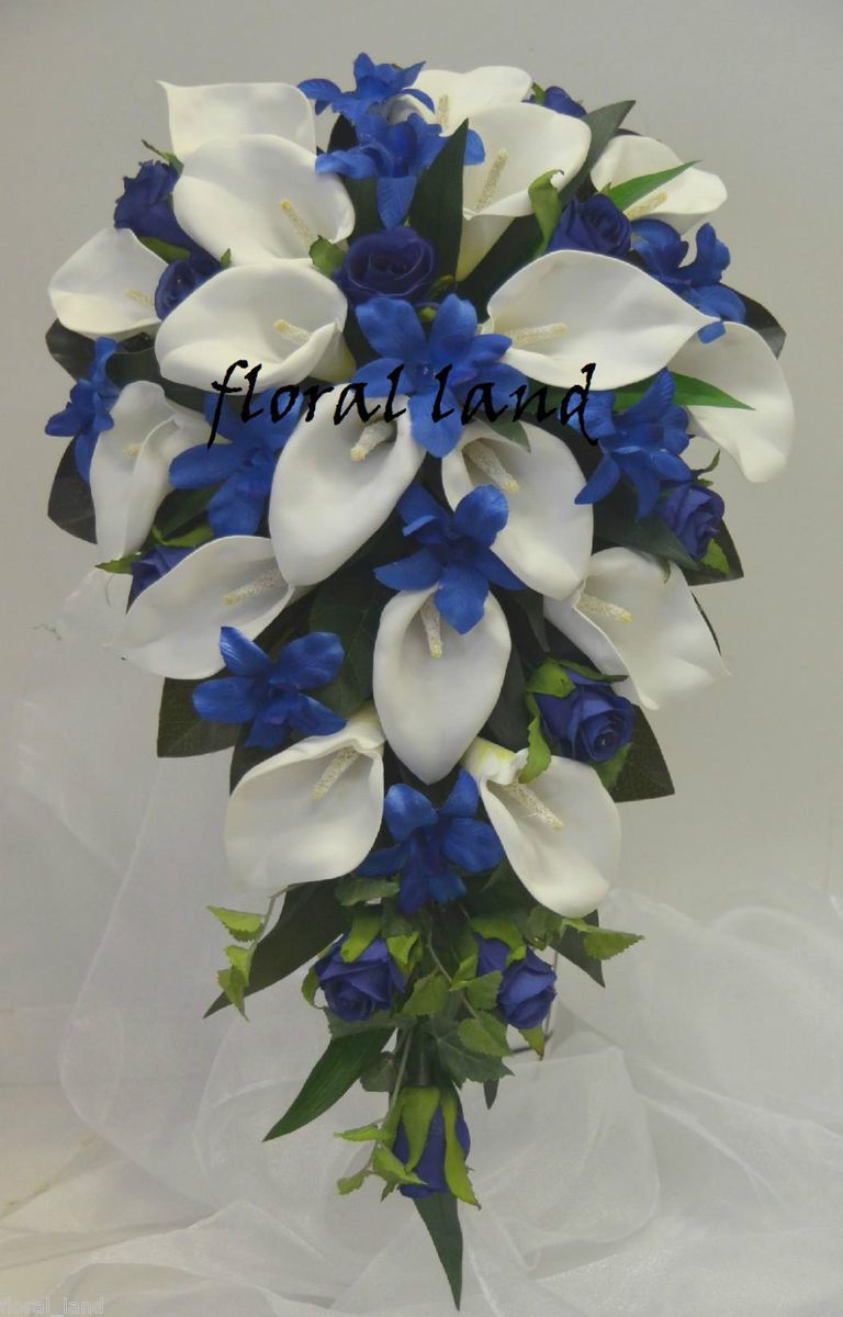 WEDDING BOUQUET SILK BOUQUETS CALLA LILY ROSE BLUE ORCHID FLOWERS ...