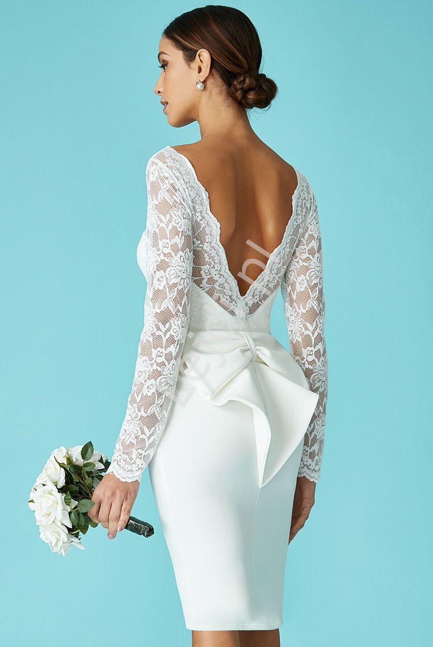 Biala Sukienka Na Slub Cywilny Z Kokarda Z Tylu Goddess 987a Short Wedding Dress Dresses Formal Dresses