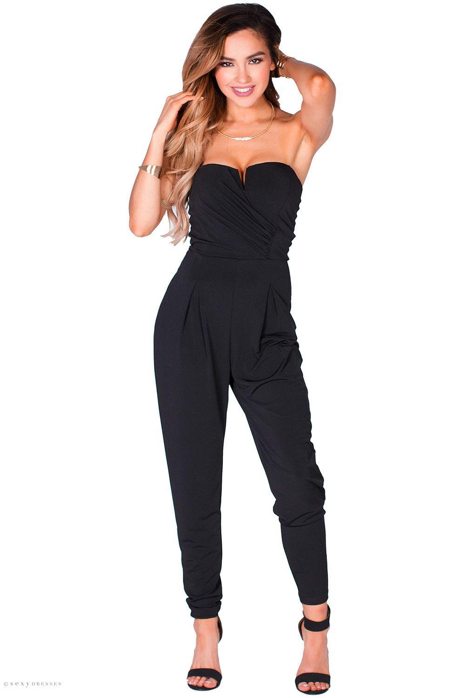296ae77edda Relaxed Tapered Leg Sweetheart Notch Neckline Strapless Dressy Black  Jumpsuit