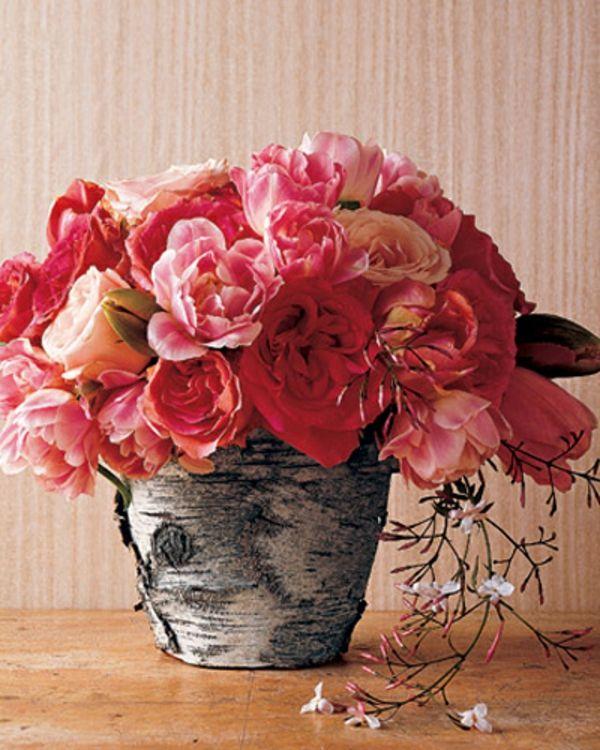Coole Deko Ideen   Baumstumpf Vase, Grosses Bouquet