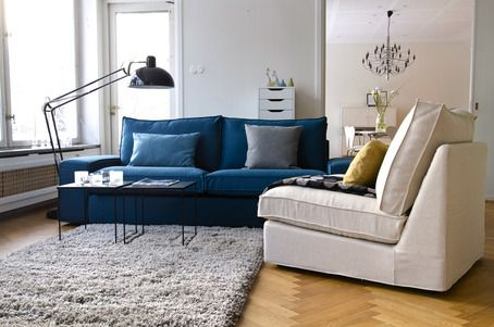 Ikea Kivik 3 Seater couch - with Bemz Teal Blue Panama Cotton Cover ...