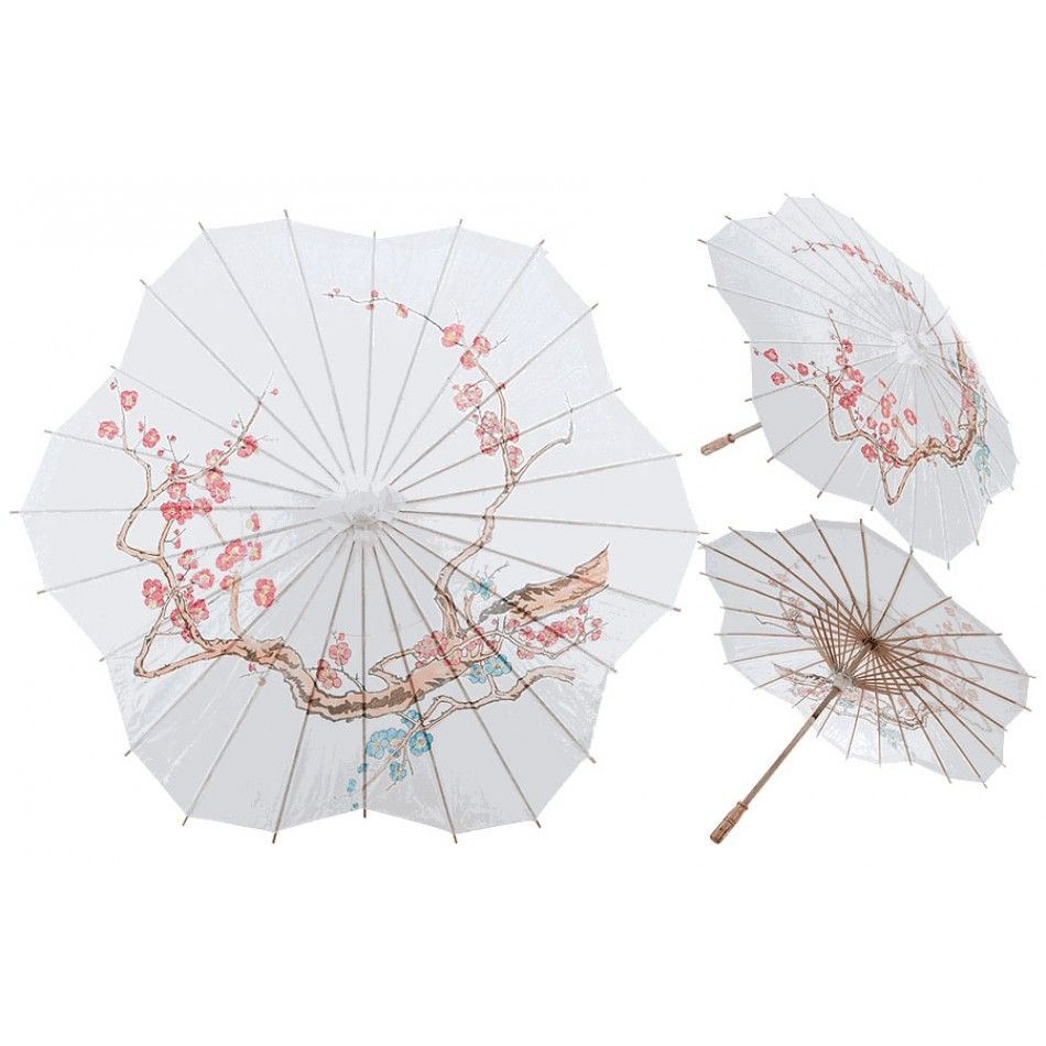 32 Scalloped Shaped Paper Parasol With Cherry Blossom Design [247 ...