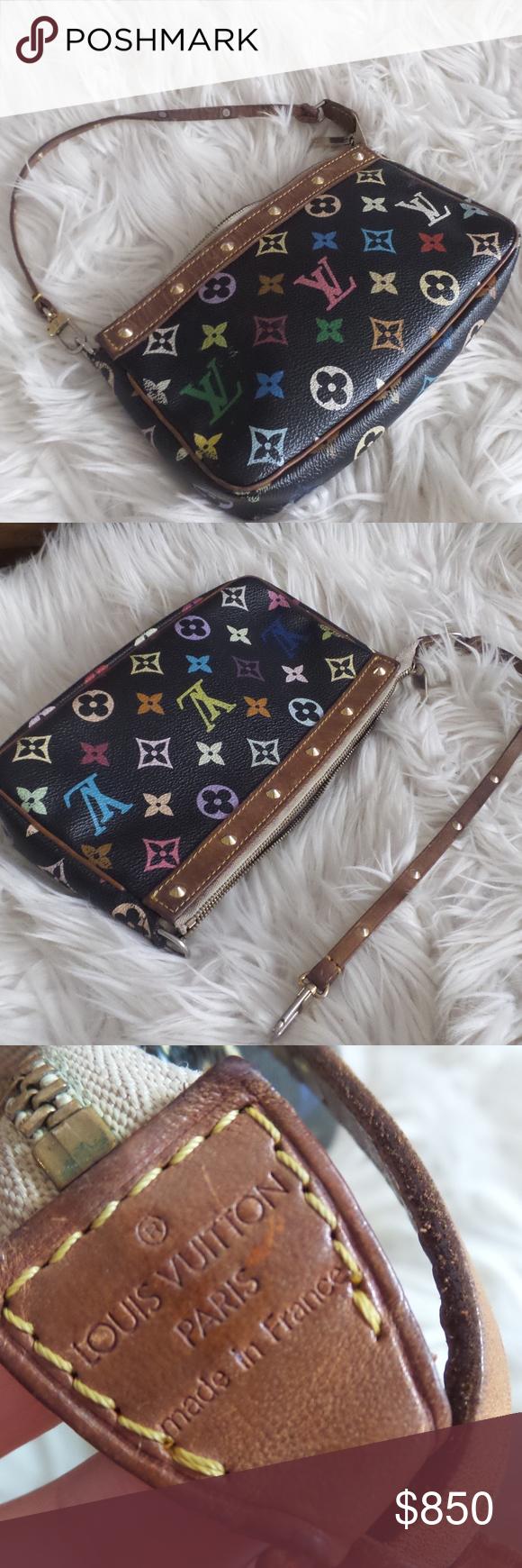 Lv Multicolored Pochette Handbag Vintage Purse Louis Vuitton Bag Black And Brown
