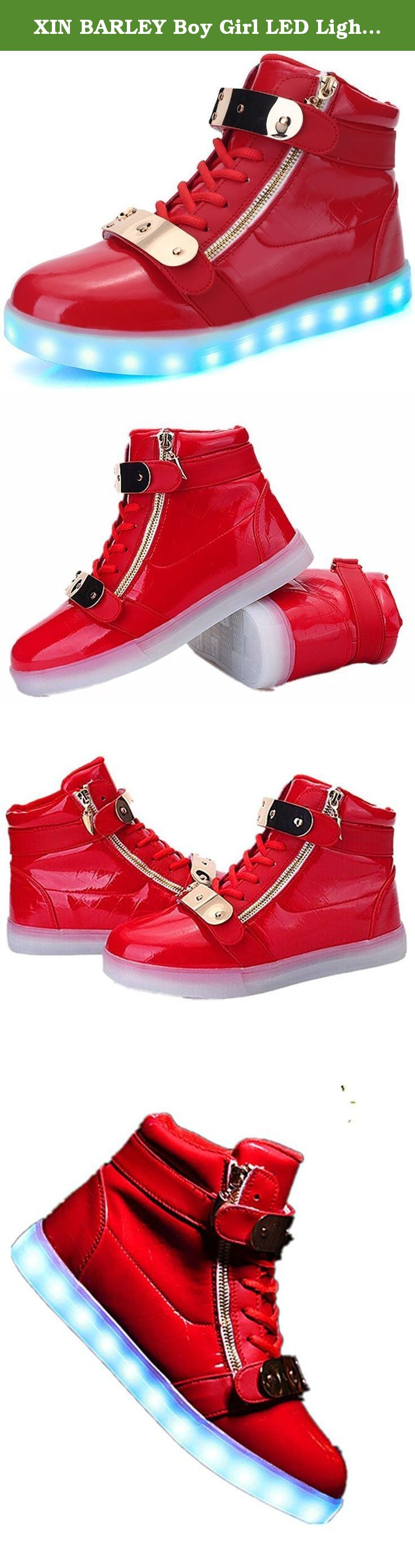 XIN BARLEY Boy Girl LED Light Up Shoes Street Style Gold Tone Zip