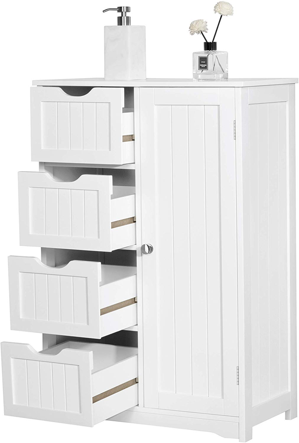 Amazon Com Topeakmart Free Standing Cabinet Wooden Bathroom Cabinet Storage Cabinets Four D Wooden Bathroom Cabinets Bathroom Storage Cabinet Storage Cabinets