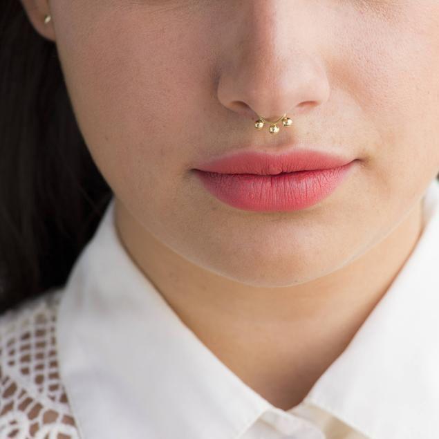 Helix Ring 14K Gold Septum Cartilage Ring Balls Septum Gold Septum Ring Septum Jewelry Tribal Septum Ring Nose Ring Tragus Earring