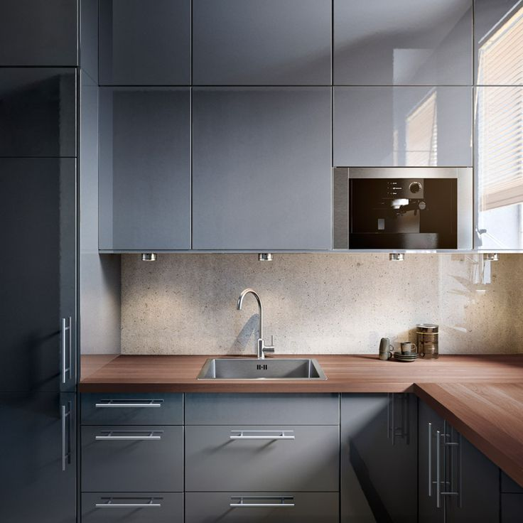 Ikea Glossy Gray Cupboards Mixed With Strongwooden Worktops - Glossy grey kitchen